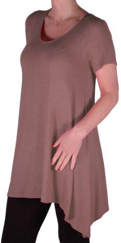 EyeCatch Oversize - Haut long asymétrique manches courtes grandes tailles - Geneva - Femme - Taille UK14 /28 Moka