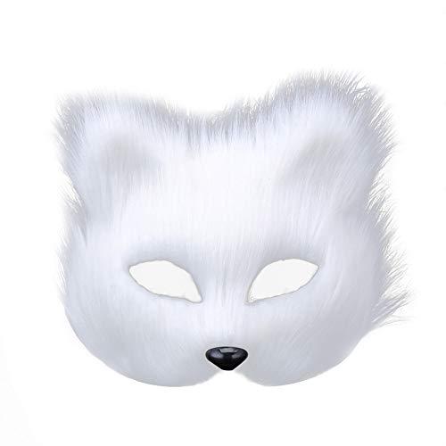 Daliuing Frauen Lady Maskerade Maske Tierform Kunststoff Halloween Maske Halbgesicht Soft Hair Festival Maske für Mädchen Karneval Party 18 * 16cm weiß