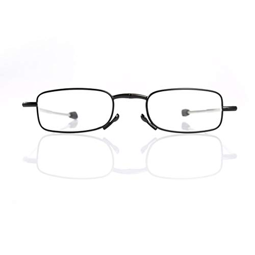 Noradtjcca Faltbare Edelstahl Lesebrille presbyopie Brille tragbare Eyewear Stil Lesebrille mit Fall schwarz