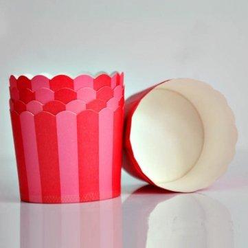 Rouge Rose de Souked résistant à haute température 20PCS Moyen Stripe papier Cup Cake