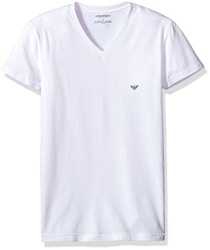 Emporio Armani Herren The Big Eagle Vneck T-Shirt Thermo-Unterwäsche, Oberteil, weiß, X-Large