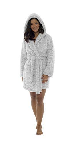 Aumsaa Damen Fleece Streifen Kuschlig mit Kapuze Bademantel - grau, Groß (16-18 UK)