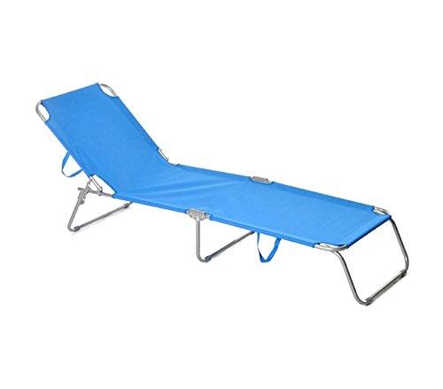 Mediawave store 2309 lettino prendisole pieghevole con schienale regolabile di colore blu