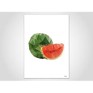 Wassermelone / Poster, Kunstdruck, Bilder, Kunstdrucke, Deko, skandinavisch, Papier, Pastell, Marmor, Blumen, Rosen, geometrisch, Frühling, Sommer