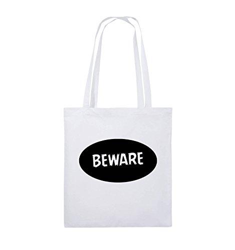 Comedy Bags - Beware - Jutebeutel - lange Henkel - 38x42cm - Farbe: Schwarz / Silber Weiss / Schwarz