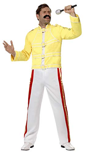 Rockstar Economy Kostüm mit Jacke und Hose, - Freddie Mercury Gelbe Jacke Kostüm