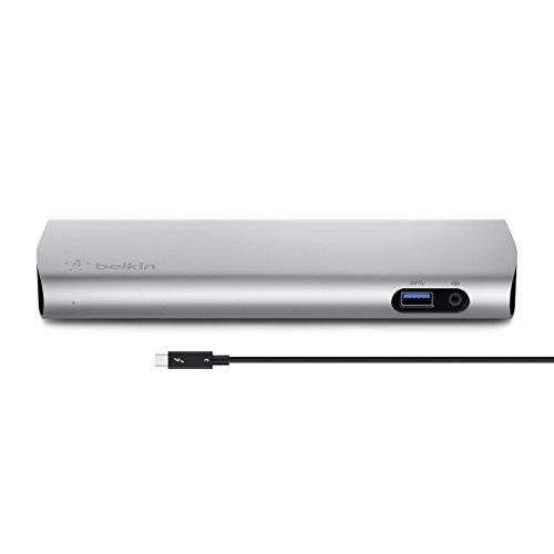 Belkin F4U095VF Thunderbolt 3 Docking Station (mit 1 m Thunderbolt 3-Kabel, 40 Gbit/s, 85W Leistung, unterstützt zwei 4K-Bildschirme, 3x USB 3.0, Audioausgang, Gigabit-Ethernet, Thunderbolt 3/USB-C) aluminium