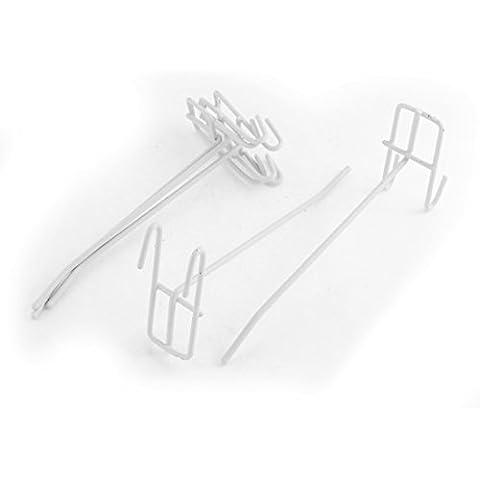 Metal Para Tienda Slat Gridwall Soporte Colgante Pantalla Gancho 5pcs Blanco