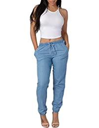 STRIR-Ropa Mujer Pantalones Bombacho Mezclilla Pantalones Anchos 04fb68c00a4