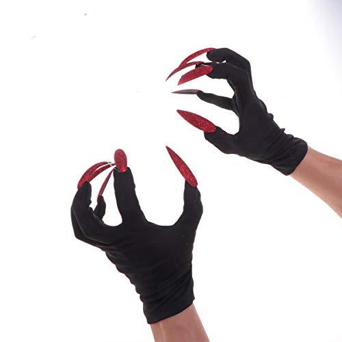 Halloween Nail Zubehör - Amosfun Halloween Handschuhe Halloween Kostüm Handschuhe