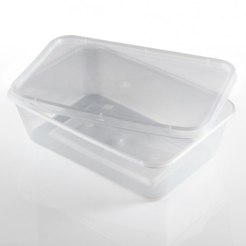 Thali Outlet- Lot de 50récipients rectangulaires en Plastique Transparent pour Micro-Ondes ou congélation - 500ML