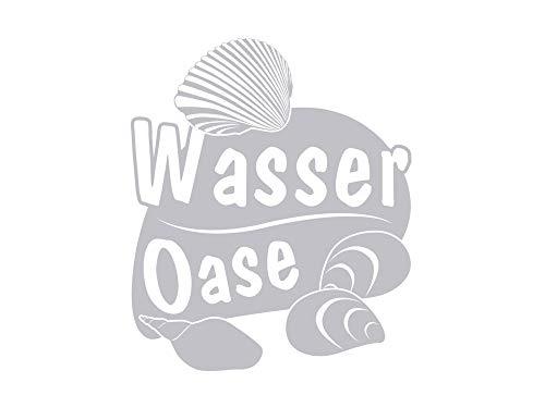 GRAZDesign 980204_30 Fenstertattoo Schriftzug Wasser Oase mit Muscheln   Fensteraufkleber für Bad - Glastattoo für Dusche (36x30cm)