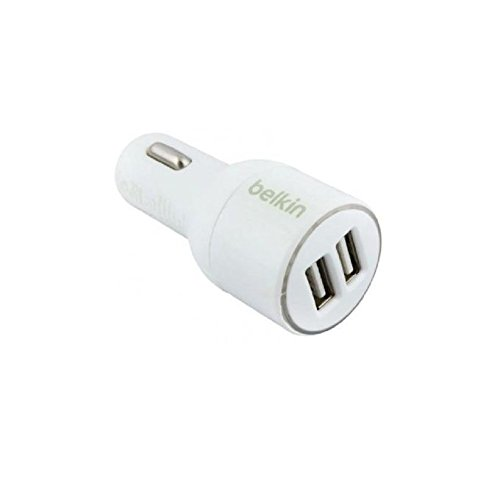 Belkin CAR MOBILE PHONE CHARGER [Apple MFi Certified] 2 Port- Car Charger (2.1 Amp / 10 Watt per Port)+ Plugs into any car power outlet With UNIVERSAL COMPATIBILITY SUPPORT + Compact and Efficient + COD AVAILABLE [WHITE]  available at amazon for Rs.786