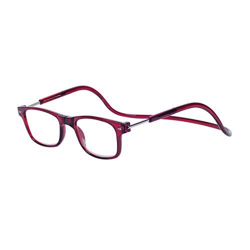 Magnéticas Gafas de lectura Plegables Rojo +2.0 QIXU Presbicia Vista para Hombre y Mujer Montura Regulable Colgar del Cuello y Cierre con Imán +2.0(55-59 años)