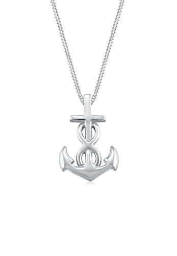 Elli Damen-Halskette mit Anhänger Anker Infinity Liebe Kreuz Hoffnung Heimat silber 925 0112572016_45 - 45cm Länge