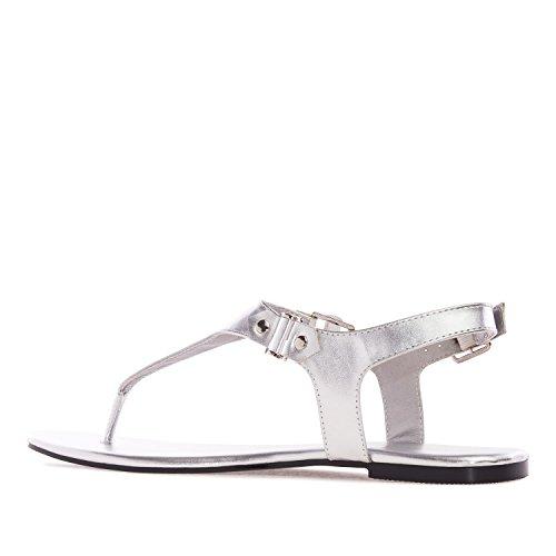 Andres Machado - AM5155 - T-Bar-Sandalen aus Soft in Weiss AM5155 Silber