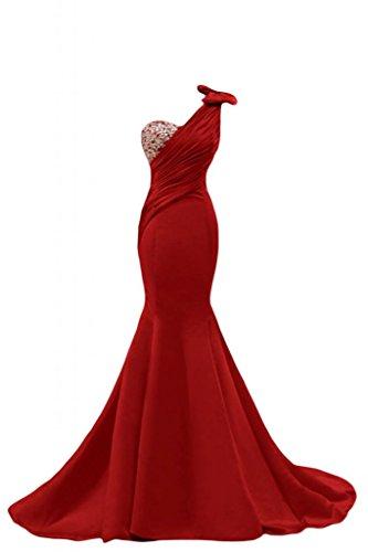 Sunvary Gorgeous Mermaid, abito da sera Una spalla Pageant Gowns per abiti lunghi da donna Red