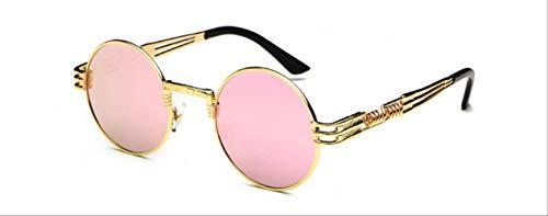 MJDL Vintage Retro Gothic Steampunk Spiegel Sonnenbrille Gold und Schwarz Sonnenbrille Vintage Round Circle Herren Uv Gold Pink Mirror