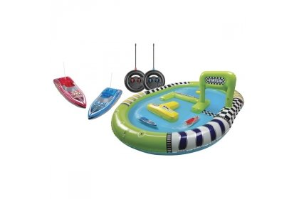 Jumbo Inflatable Pool Twin Radio Remote Control Rc Boat Racing Track Race Course Toy Game Fun Play Set by Remote Control