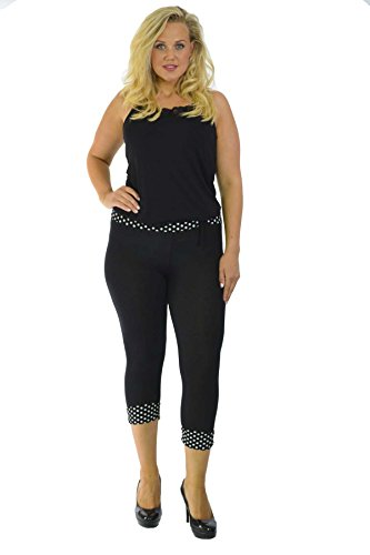Nouvelle Womens Plus Size Nouvelle Cropped Polka Dot Leggings Sizes 12-14 to 24-26
