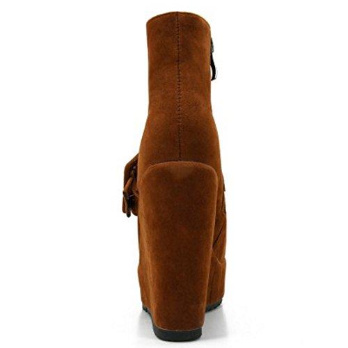 COOLCEPT Damen Mode-Event Schnalle Hohen Absätzen Knöchelriemchen Reißverschluss Keilabsatz Elegant Chelsea Stiefel Braun
