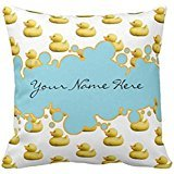Rubber Ducky and Blue Bubbles Banner Baby Shower pillow case 2222 - Ducky Baby Shower