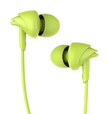 UiiSii C200 In-ear Sport Kopfhörer HIFI Ohrhörer Schweißdicht mit Mikrofon Verwicklungsfrei und Außengeräusch für Kinder&Erwachsene(Grün)