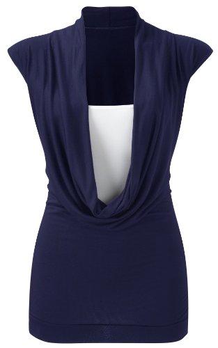Purple Hanger - Haut Encolure Longue Femme Sans Manche Empiècement Cintré Col Châle Neuf Bleu Marine