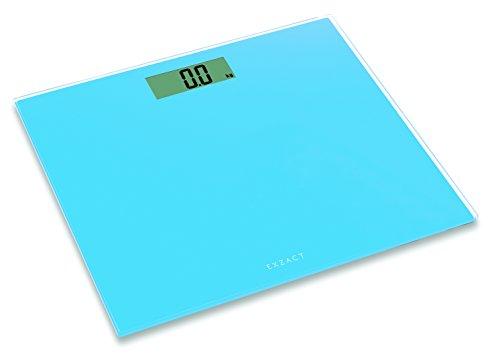 EXZACT ColorSlim – Personenwaage/ Elektronische Körperwaage / digitale Badezimmerwaage - Ultra schmal 1.7 CM Dicke -150 kg / 330 lb - farbige Glasplattform (Blau)