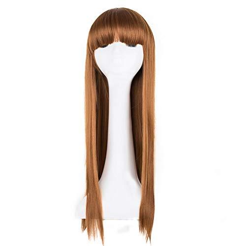 DDDMMM Blonde Perücke Glattes Haar Synthetische Hitzebeständige Faser Lange Frauen Haarteil Flache Pony Kostüm Cos-Play - Pony Play Kostüm