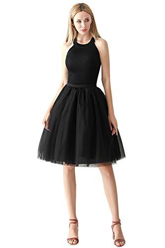 Babyonlinedress Damenrock Tüllrock Elasthan Band Tutu 50er Karneval Tanzkleid Unterkleid Crinoline Petticoat für Rockabilly Kleid, Schwarz, One Size / ()