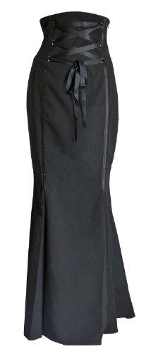 Schwarz (highw_vampira_skirt) Gotisch Maxi Rock 50 (Tie-dye-langer Rock)