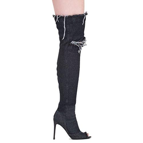 heels High Toe Stiletto Peep Stiefeletten Langschaft Cowboy Elastisch Schwarz Damen Overkneestiefel BHO6px
