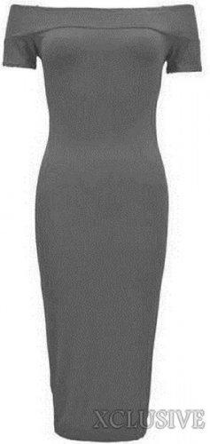 nouvelles femmes plus la taille manches courtes Encolure Robe moulante midi Anthracite