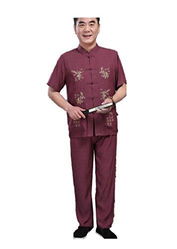 Taiji National des Hommes Hommes Tang Costume Coton et Lin Chemise à Manches Courtes Style Chinois Grande Taille d'âge Moyen Costumes Lay vêtements