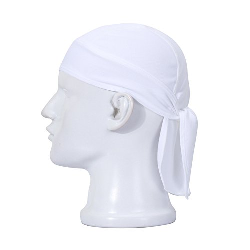 Ksweet Atmungsaktiv Kopfschutz Bandana Cap Unisex Radsport Bikertuch Mütze (Weiß)