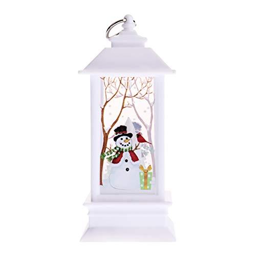 Sweet&rro17 Weihnachten Laterne LED Deko, Christmas Beleuchtung Lichterketten für Garten Weihnachten Party Innen und Außen, Batteriebetrieben AAA x 3(Klein,Weiße,Schneemann)
