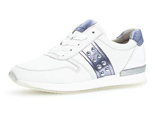 Gabor Damen Low-Top Sneaker 24.421.26, Frauen Halbschuh,Schnürschuh,Strassenschuh,Business,Freizeit,Weiss/Lavendel/Azur,36 EU / 3.5 UK