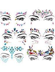 6 Stück Juwelen Aufkleber Gesicht Strass Tattoo Körper Kristall Glitter Edelstein Gesicht Edelsteine Schmucksteine Face Jewels Für Festival Parties Shows Make-Up Haut Kunst (bunt) - Kristalle Körper