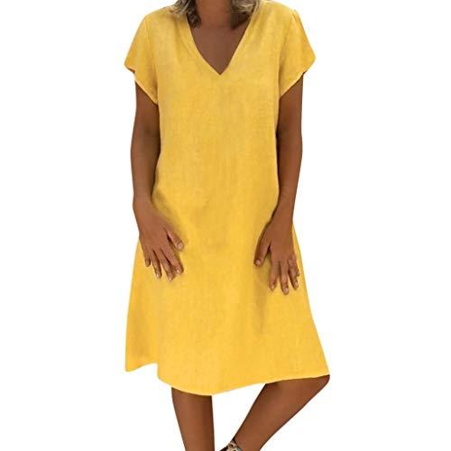 er Kleid Damen Plus Size Kleid T-Shirt Baumwolle und Leinen Kleid Casual Short Sleeve Midi Kleid (Color : Gelb, Size : Large) ()