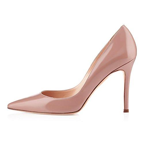 EDEFS Femmes Artisan Fashion Escarpins Classiques Elégants Pointus Chaussures à talon de 85mm Travail Bureau Noir Noir