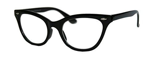 50er Jahre Damen Brille Cat Eye Nerdbrille Klarglas Katzenaugen Rockabilly Hornbrille BB (Schwarz)