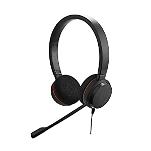 Jabra Evolve 20 Stereo Headset - Wired Headphones for VoIP Softphone with Passive Noise Cancellation - USB-Cable with Controller - Black