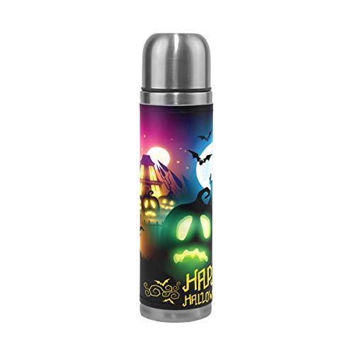 Alinlo Happy Halloween luminoso zucca borraccia in acciaio INOX vuoto thermos tazza tazza di caffè da viaggio a prova di perdite 481,9gram