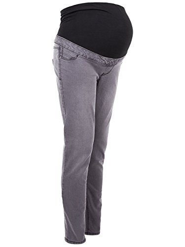 Womens Over Bump Grey Denim Maternity Skinny Jeans Trousers Leggings Size 8-20 Test