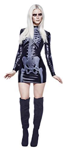 Fever Kollektion Miss Whiplash Skelett Kostüm Schwarz mit bedrucktem Kleid, Small