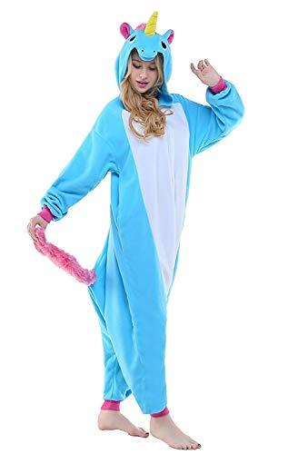 Einhorn kostüme, Schlafanzug, Pyjama,für das Halloween ,Karneval und Weihnachten mit der Kapuze (L(165-175CM), Blau) ()