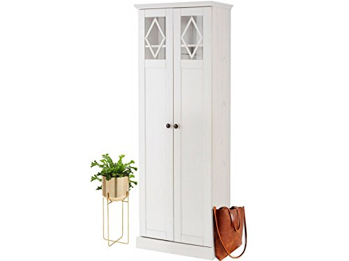 Kleiderschrank Dielenschrank Gardenobenschrank Schrank Luther 65 x 185 cm aus Kiefer Massiv weiß...