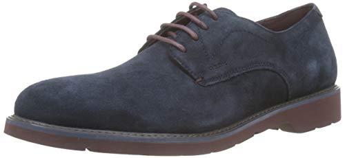 Geox U Garret A, Zapatos de Cordones Derby para Hombre, Azul Navy/Bordeaux C4335, 43 EU