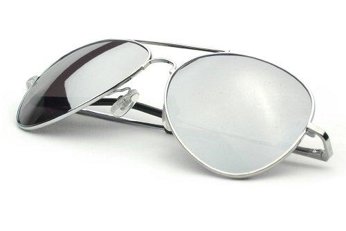 ille Fliegerbrille Spiegelbrille Pornobrille Sonnenbrille Polizei Brille silber verspiegelt Unisex Herren Damen Männer Frauen X02 ()